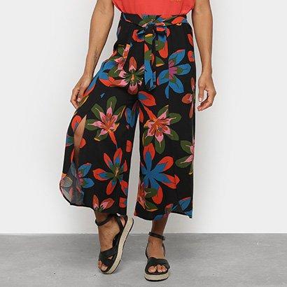 Calça Pantacourt Cantão Floral Amarração Feminina
