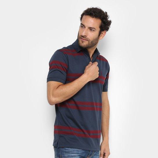 04eff97eb7342 Camisa Polo Aleatory Malha Fio Tinto Masculina - Azul Escuro