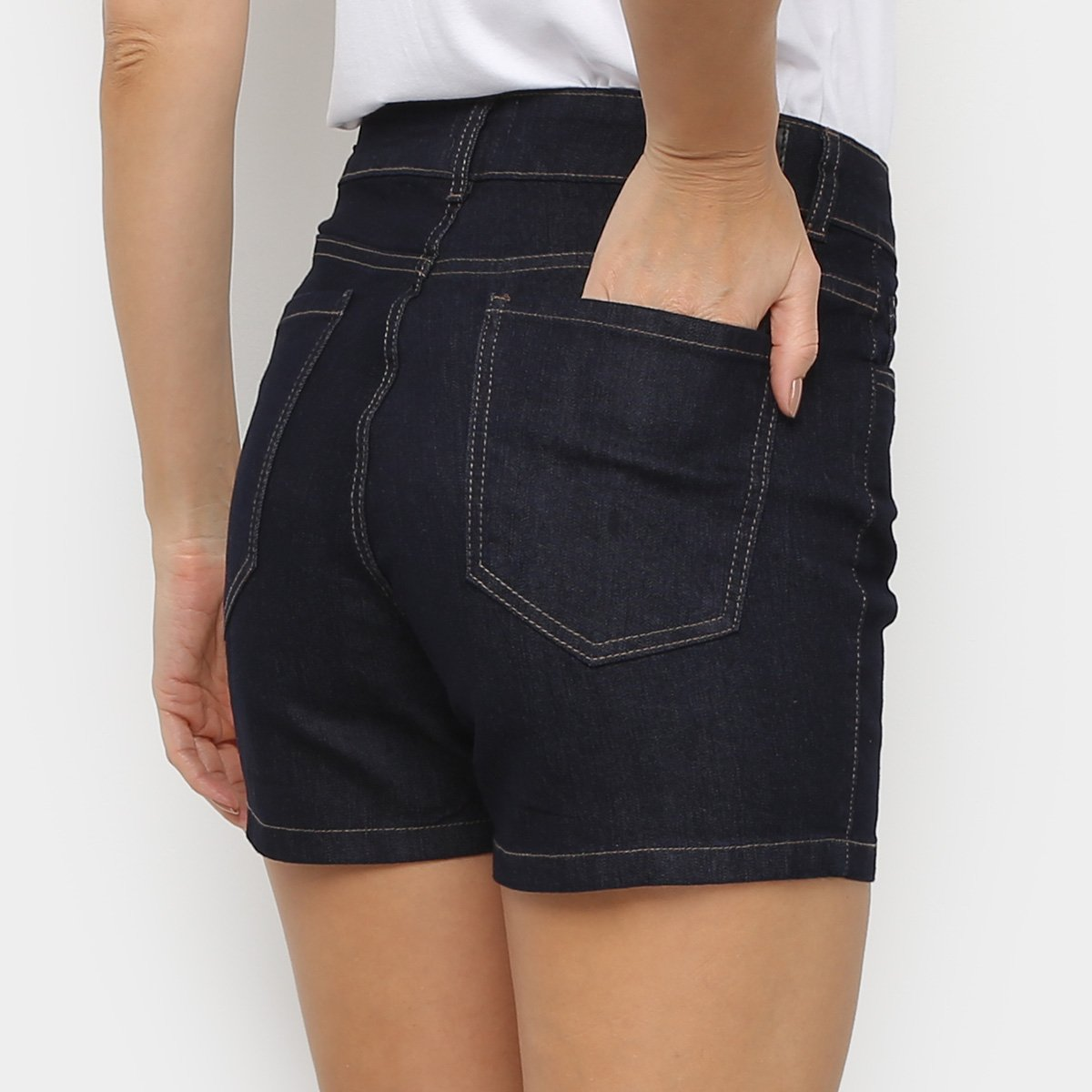Foto 2 - Short Jeans Malwee Skinny Feminino