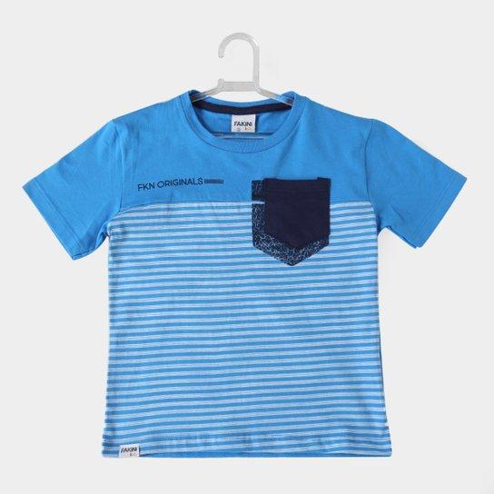76706f9dea Camiseta Infantil Fakini Kids Listrada Bolso Masculina - Azul Escuro ...