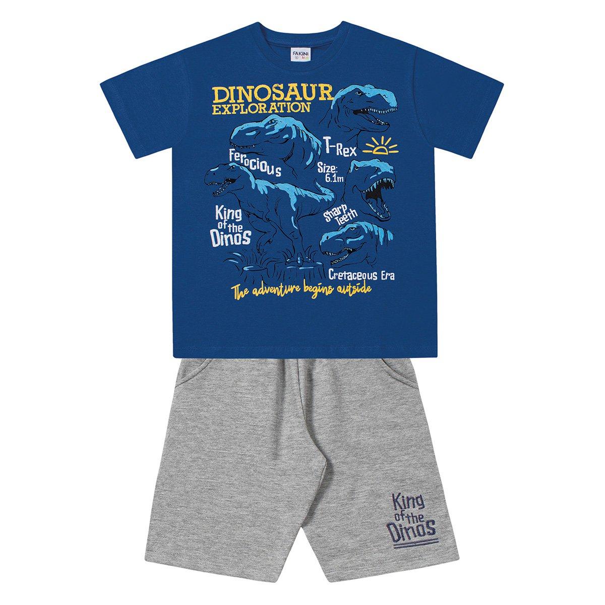 Conjunto Infantil Fakini Camiseta Malha e Bermuda Moletinho Dinos Masculino