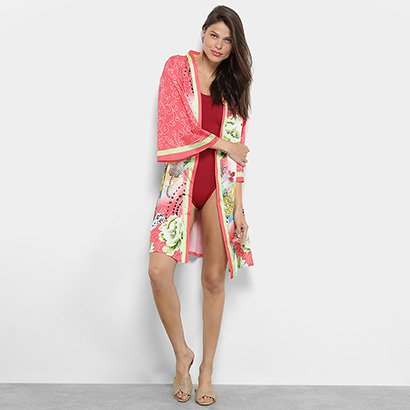Saída de Praia Road Mel Kimono Estampa Floral Feminina