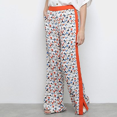 Calça Pantalona Heli Estampada Fenda Feminina