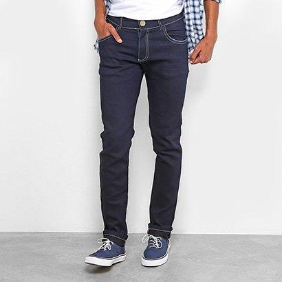 Calça Jeans Slim Coffee Pesponto Masculina