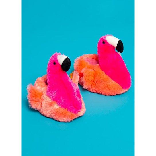 b07d79624d Pantufa de Pelúcia Infantil Puket Flamingo Feminina - Laranja