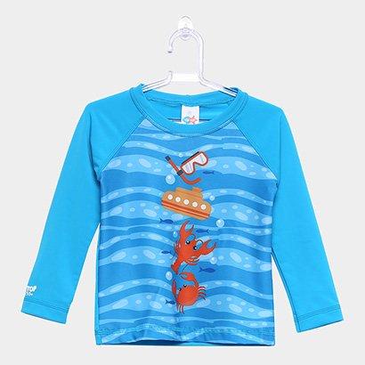 Camiseta Infantil Tip Top Praia Estampada Manga Longa Masculina