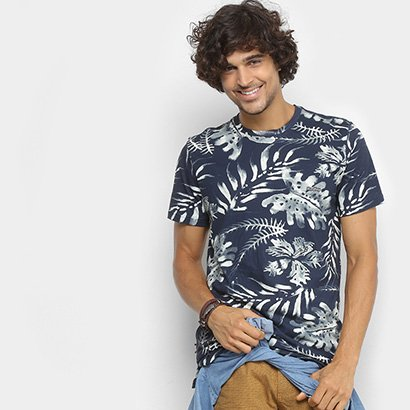 Camiseta Redley Estampada Folhagens Masculina