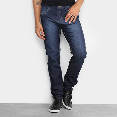 Calça Jeans Skinny Rock Blue Elastano Lavagem Escura Masculina