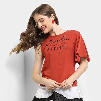 Camiseta Infantil Colcci Assimétrica Estampada Feminina