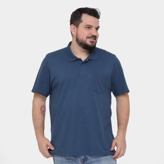 Camisa Polo Kohmar Piquet Plus Size Masculina - Azul Escuro - Compre ... 48f03242f730a