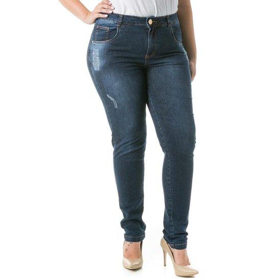 0f315df95 Calça Confidencial Extra Plus Size Jeans Cigarrete com Estonado Feminina - Azul  Escuro