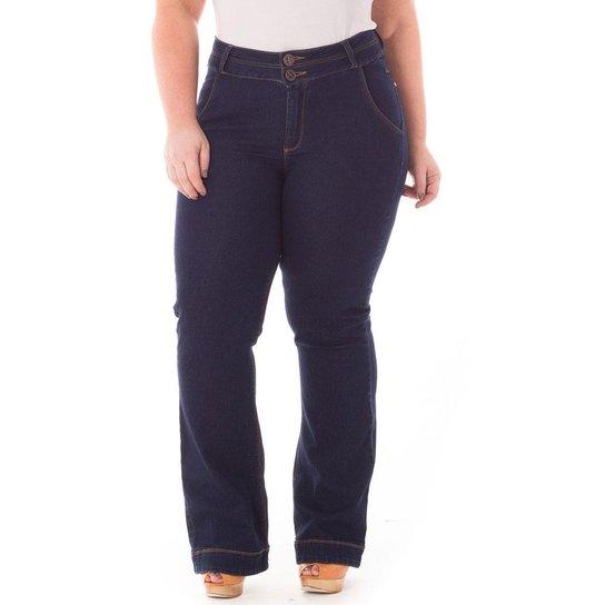 e1f8d7c3f Calça Confidencial Extra Plus Size Flare Jeans Feminina - Azul Escuro