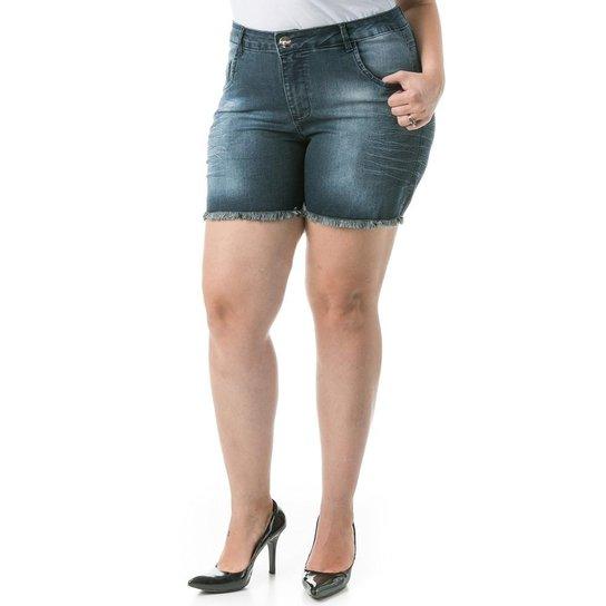 cc044239f Shorts Confidencial Extra Plus Size Jeans Tradicional Feminino - Azul Escuro