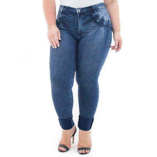 7681e4195 Calça Jeans Confidencial Extra Plus Size Legging Denin com Elastano Feminina  - Azul Escuro