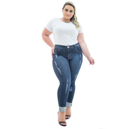 c9376fa1d Calça Jeans Confidencial Extra Plus Size Cigarrete Destroyed Feminina -  Azul Escuro