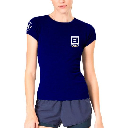 4a6bad6fc Camiseta Baby Look Feminina de Treino - Enforce Fitness-P-Azul Claro - Azul