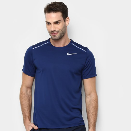 ad6dcdd174 Camiseta Nike Dry Miler Ss Mascunina - Azul Escuro - Compre Agora ...