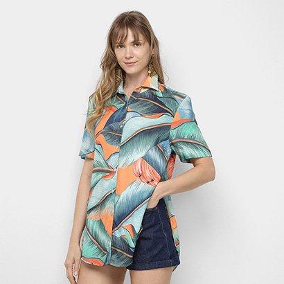 Camisa Farm Folha de Bananeira Feminina