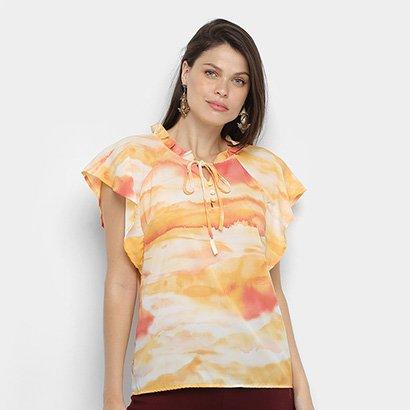 Blusa Dom Fashion Decote Amarração  Estampada Feminina