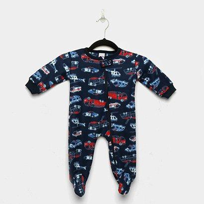 Macacão Infantil Candy Kids Longo Pijama Soft Zíper Carros