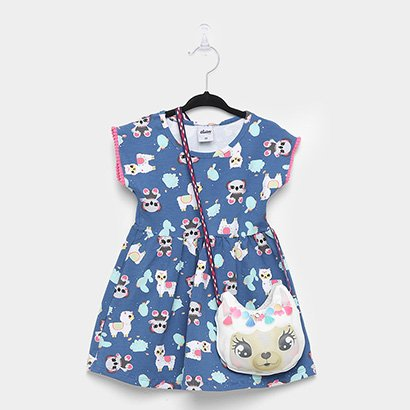 Vestido Infantil Elian Cotton Bixinhos Bolsa