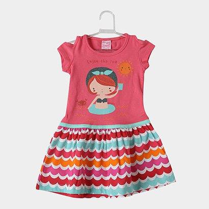 Vestido Infantil For Girl Curto Evasê Estampa Listrada
