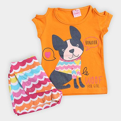 Conjunto Infantil For Girl Estampa Cachorro Feminino