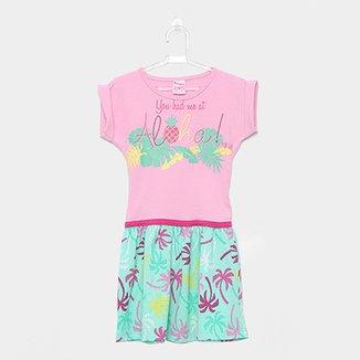 0765c79669 Vestido Infantil For Girl Curto Evasê Estampa Folhagem