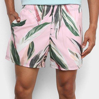 Bermuda Osklen Beach Short Pink Leaf Masculina