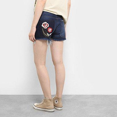 Short Jeans Drezzup Bordado Floral Feminino