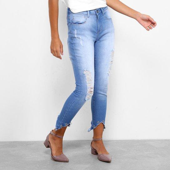 7677c7c64 Calça Jeans Skinny Drezzup Destroyed Cintura Alta Feminina - Azul Escuro