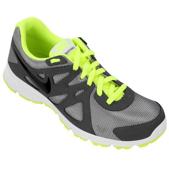 bd5f0a62f4 Tênis Nike Revolution 2 GS Juvenil - Chumbo+Verde Limão
