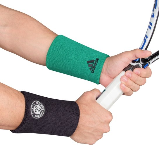 74e5536447683 Munhequeira Adidas Longa Roland Garros Verde e Chumbo - Com 2 Unidades -  Chumbo+Verde