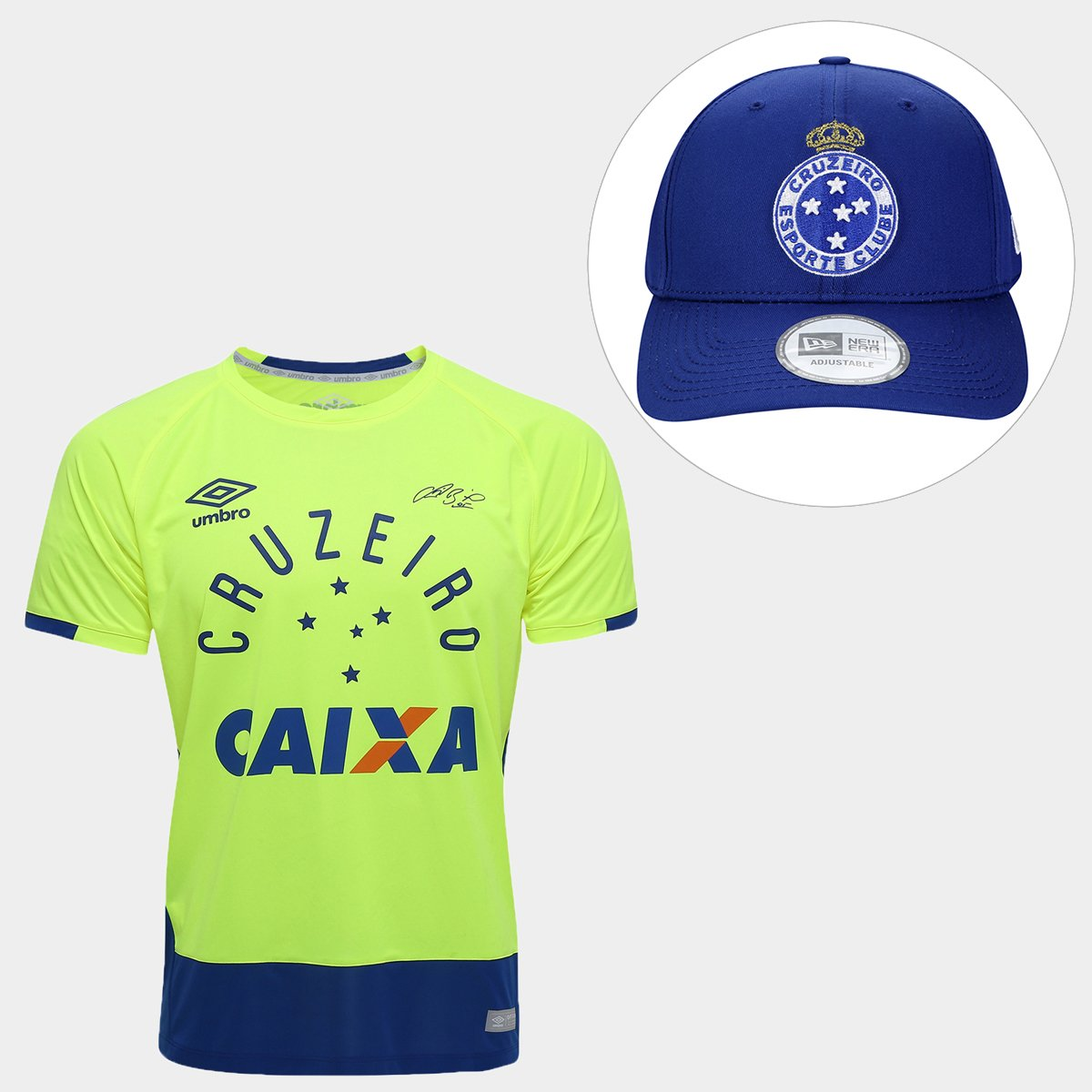 fadbb78dde946 Kit Camisa Umbro Cruzeiro Goleiro 2016 nº 1 - Fábio + Boné New Era Cr..