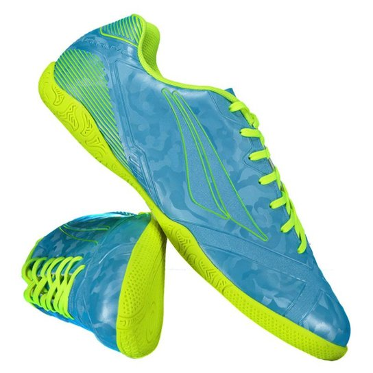 Chuteira Futsal Penalty Victoria RX VIII - Verde Limão e Azul ... 60c1ab8d5ba19