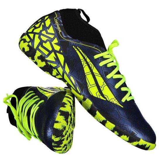 Chuteira Futsal Penalty Rx Locker VII - Verde Limão e Azul - Compre ... 08b91a7573f7d