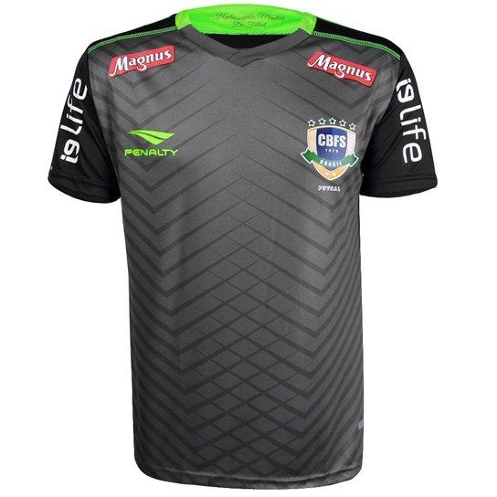 Camisa Penalty Masculina Futsal Brasil CBFS Goleiro OF 1 2018 - Chumbo+Verde 5da2ca6323461