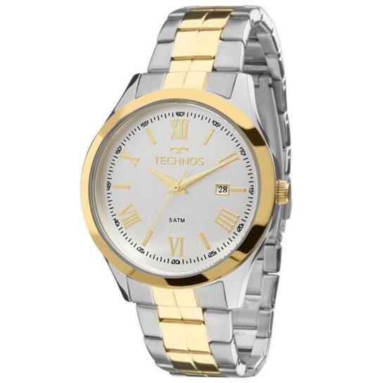 bddfa16be52 Relógio Masculino Technos Elegance 2115Mgn 5K - Prata e Dourado ...