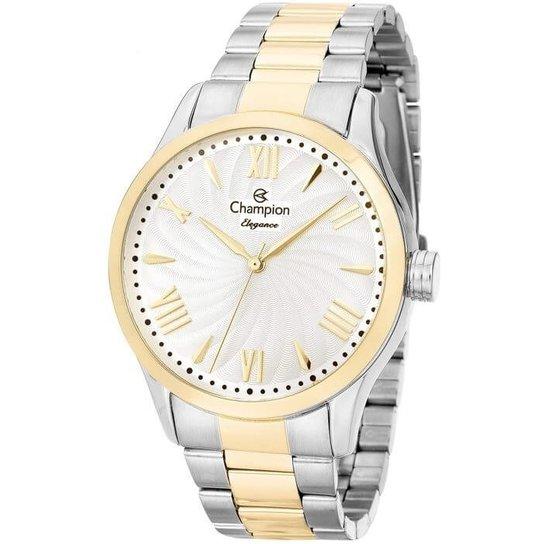 235b6cdd9fc Relógio Champion Feminino Elegance Cn27796B - Prata e Dourado ...