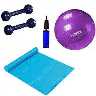 Kit Pilates com Bola 55 Cm + Mini Bomba + Colchonete + 2 Halteres 2kg LiveUp 931be6df0c9b9