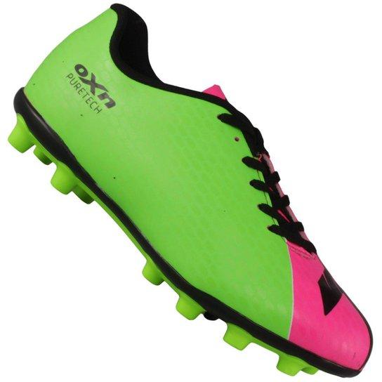 Chuteira Oxn Pure Tech Campo - Verde Limão e Pink - Compre Agora ... 294ad4cfd68a6