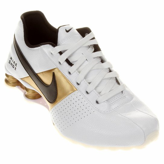 b8076f3a098 Tênis Nike Shox Deliver - Branco+dourado