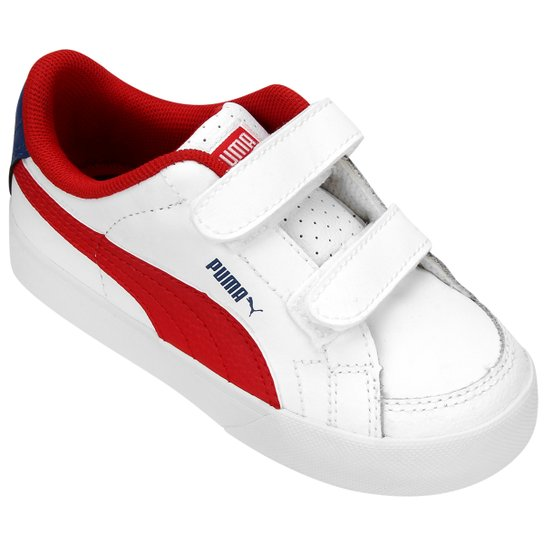 Tênis Puma Court Point Infantil - Branco+Vermelho 4f3ca01f1deaa