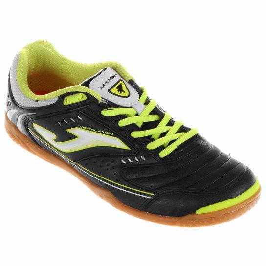 5243b9dc44 Chuteira Joma Maxima Futsal - Preto+Verde Limão