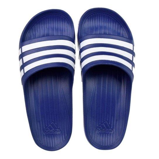 Chinelo Slide Adidas Duramo - Azul e Branco - Compre Agora  bb0a528ea5c4a