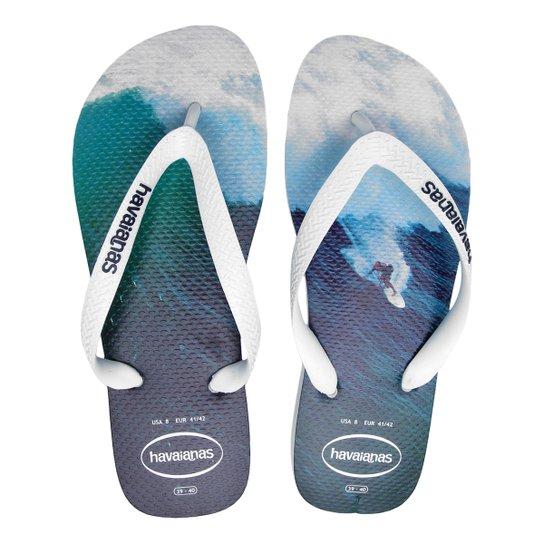 ed3a9a978 Sandália Havaianas Hype Masculina - Branco e Azul | Netshoes