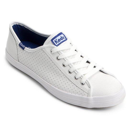 47112991c Tênis Couro Keds Kickstart Perf Leather Feminino - Branco e Azul ...