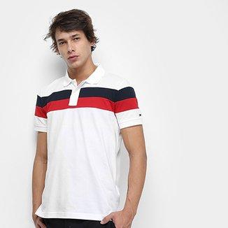 3dc42832a Camisa Polo Tommy Hilfiger Chest Stripe Slim Masculina