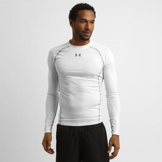 3ce182ec053 Camisa de Compressão Under Armour HG Manga Longa Masculina - Branco+Grafite