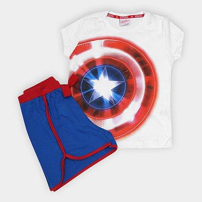 Pijama Infantil Marvel Evanilda Capitão América Curto Tal Filha Feminino